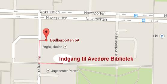 Kort hvor indgangen til Avedøre Bibliotek er markeret